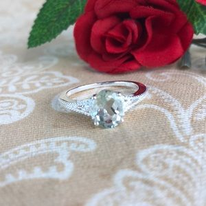 Green Amethyst Sterling Silver Ring